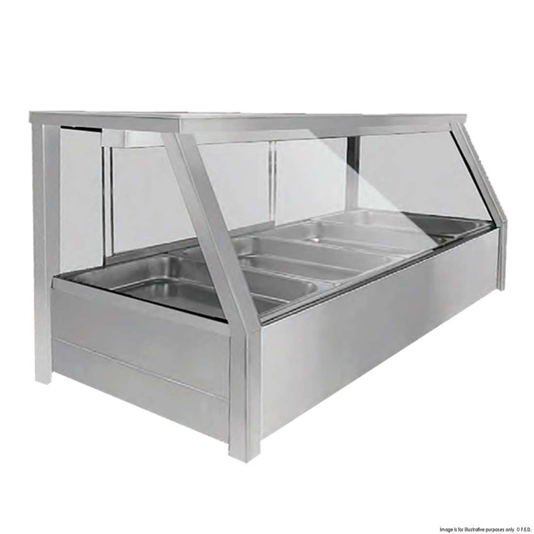 BM14TD Heated 8 × ½ Pan Bain Marie Angled Countertop Display