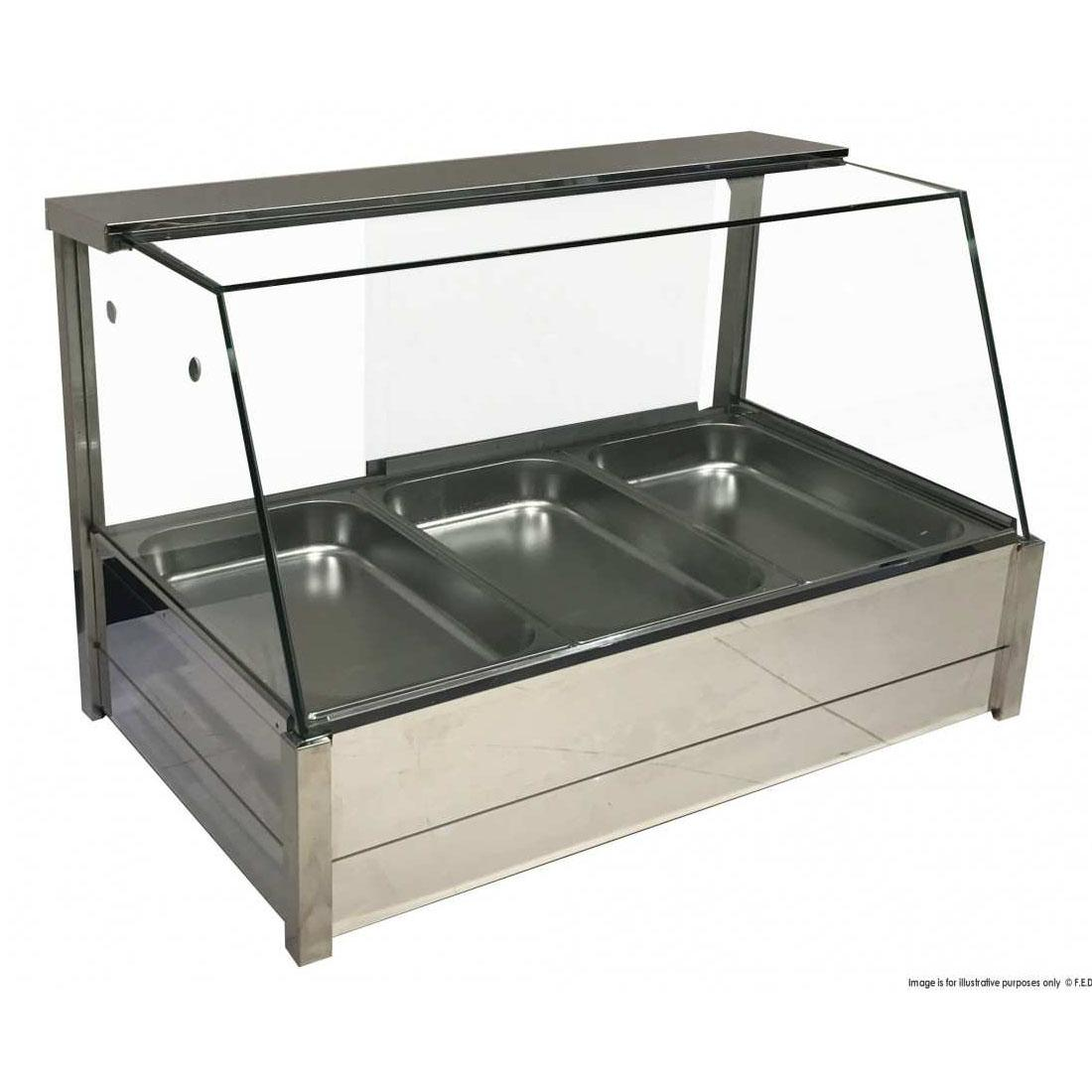 BM11TD Heated Wet Six × ½ Pan Bain Marie Angled Countertop Display