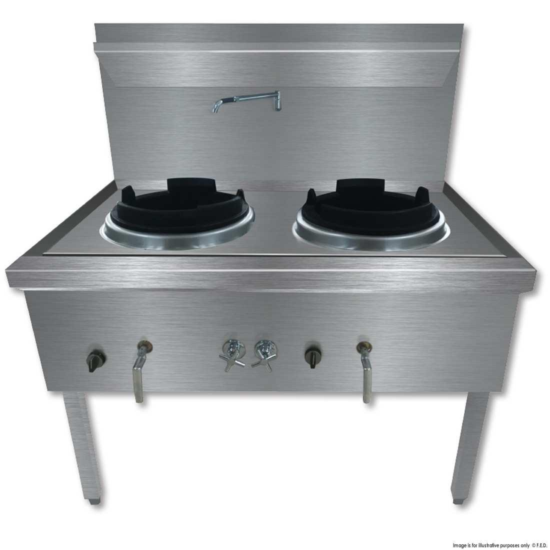 WW-2L Stainless Steel Waterless LPG Gas Double Wok
