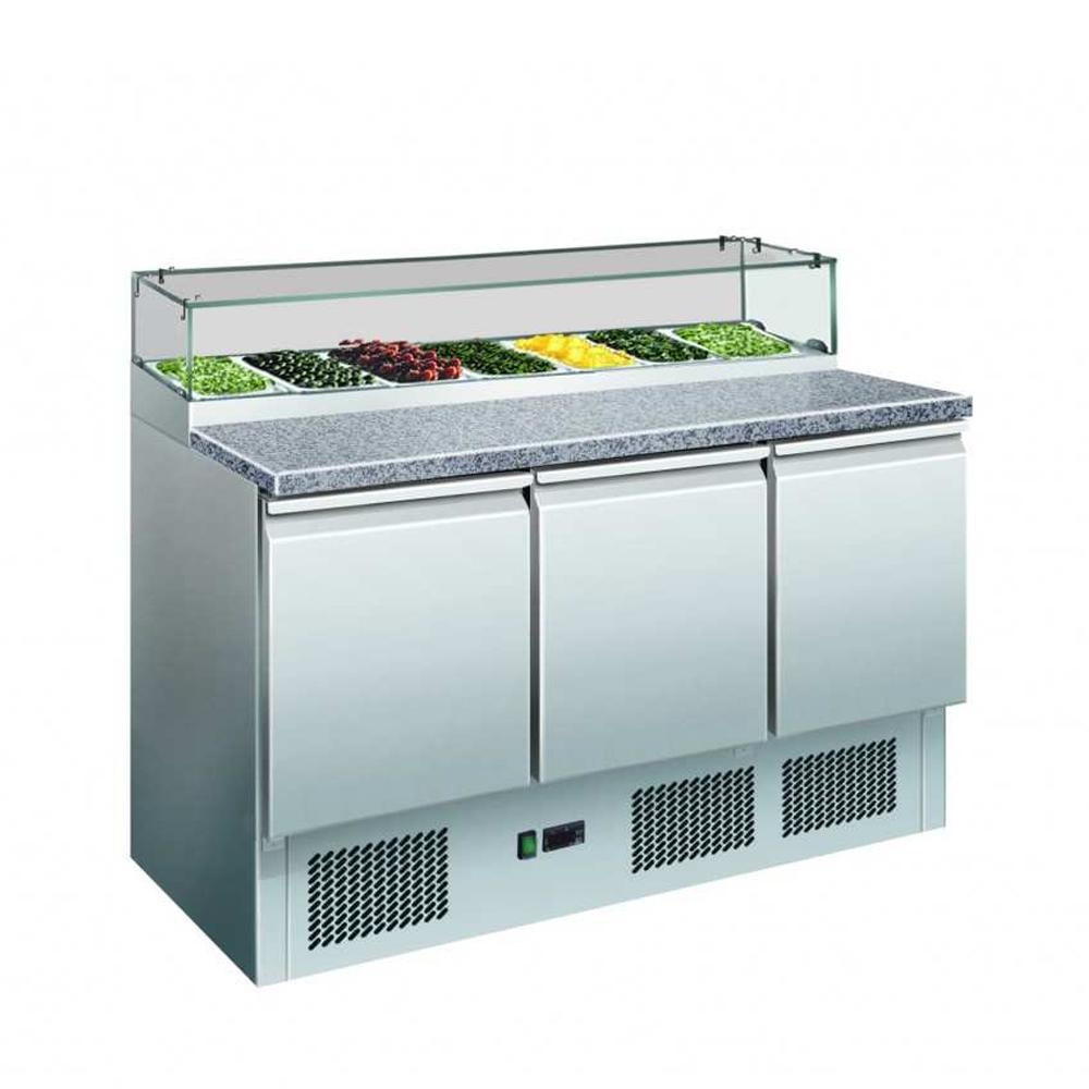 GNS1300E Three Door Salad Marble Prep Top