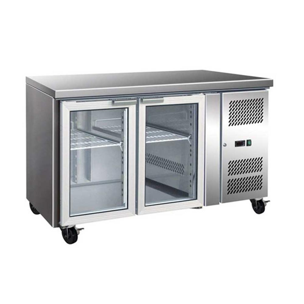 GN2100TNG - 2 Glass Door Gastronorm Bench Fridge