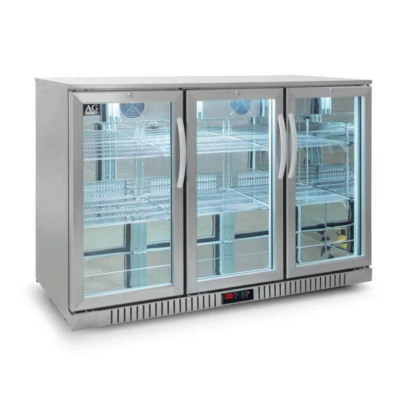 Three Door Bar Fridge - Stainless Body & Doors