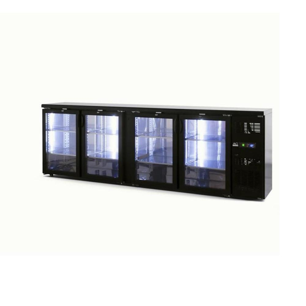 Four Door Bar Fridge / Beer Refrigerator - Black Body & Doors